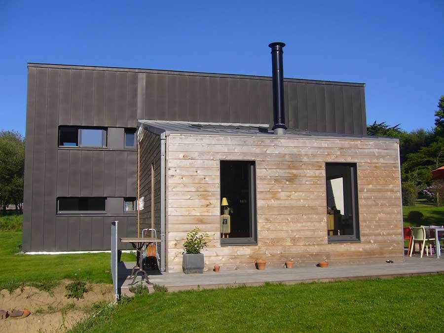 Construction bois zinc terrasse bois Bretagne