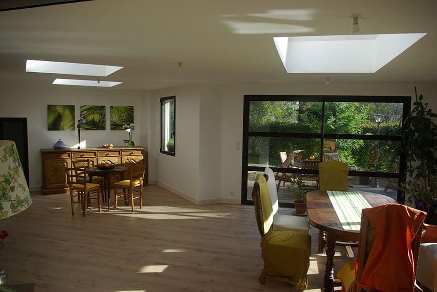 Puit de lumière en toiture d'une extension à Pluneret