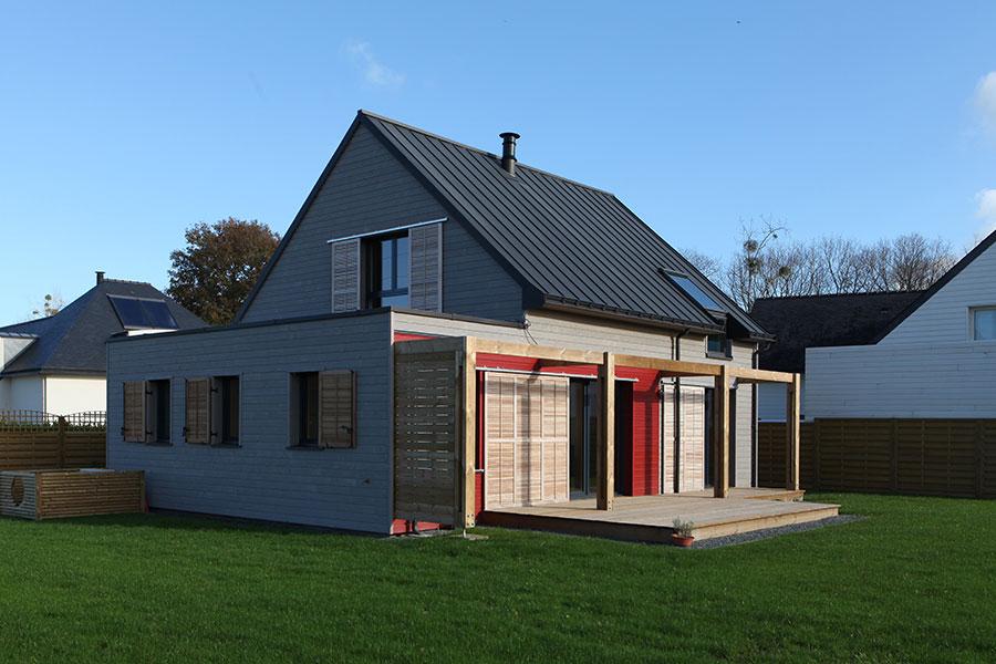 Construction maison bois terrasse bois Morbihan